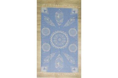 Хлопковое полотенце Пештемаль. Blue Leaves с бахромой