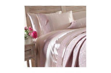 Постельное белье с покрывалом пике Karaca Home. Tugce g. kurusu розовое