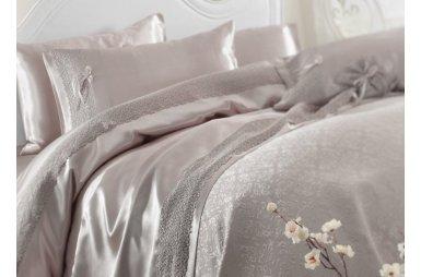 Постельное белье с покрывалом пике Karaca Home. Tugce vizon серое