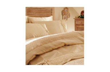 Постельное белье с покрывалом пике Karaca Home. Tugce bej бежевое