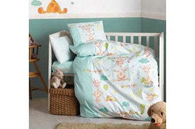 Постельное белье в детскую кроватку Cotton Box. Zurafa Yesil