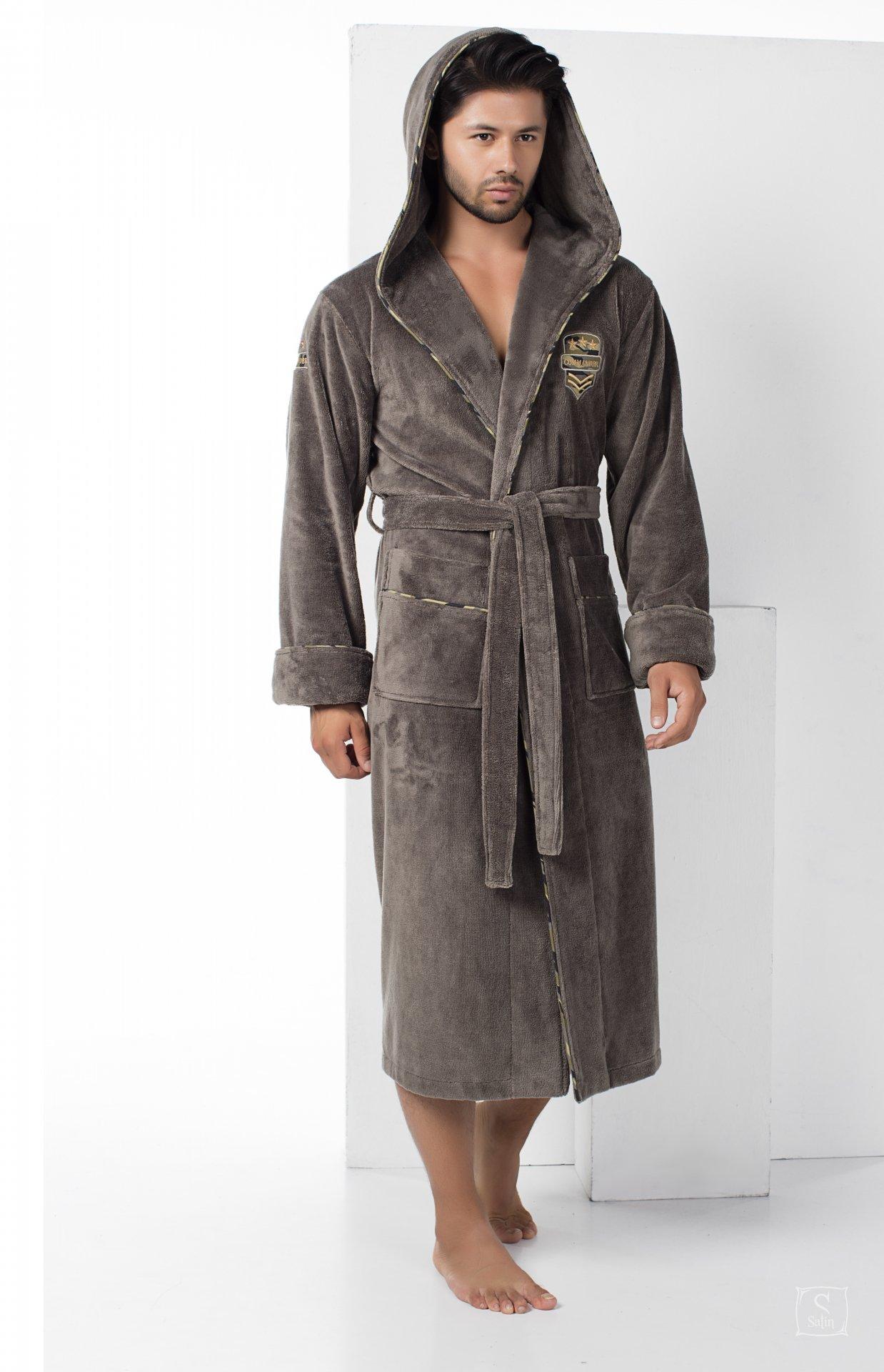 fbfad23486b4 Купить Халат мужской махровый Nusa. ns 2870 хаки — лучшая цена в ...