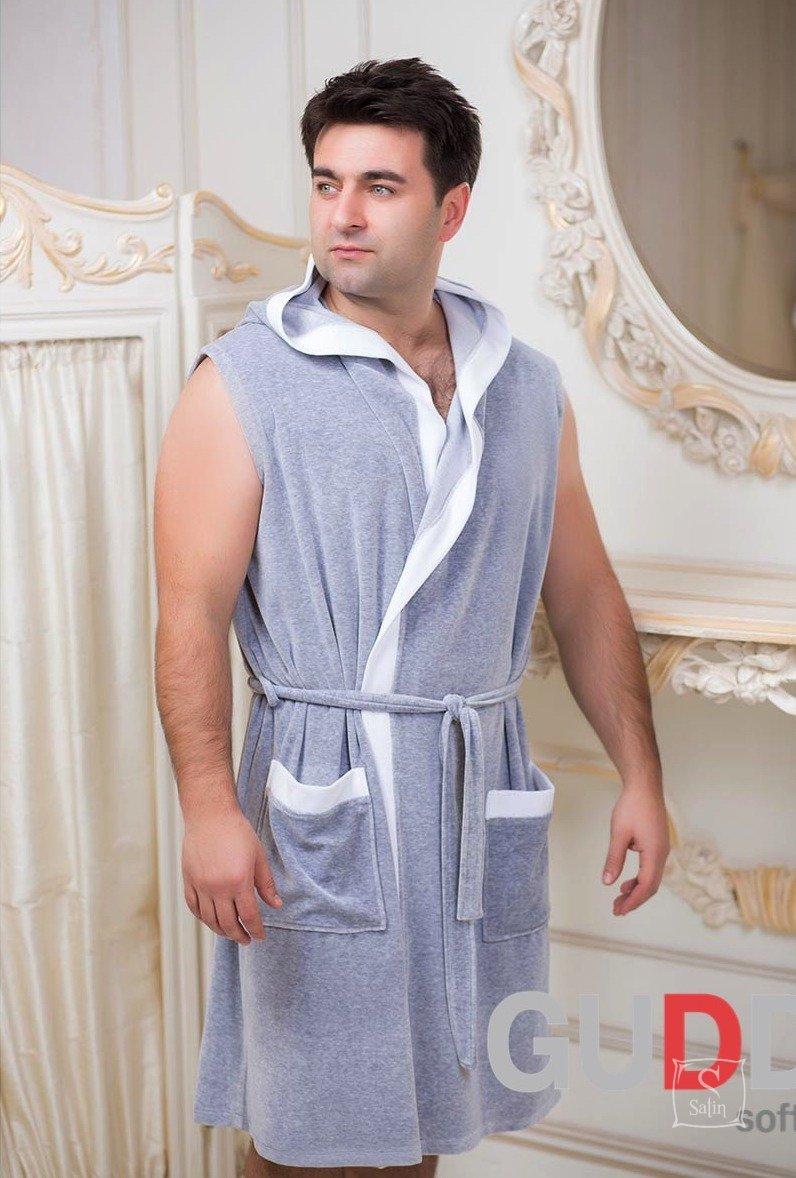 cc8a765675f8c ... Велюровый мужской халат для спорта Guddini. Marco серый меланж, рост  модели 175 см ...
