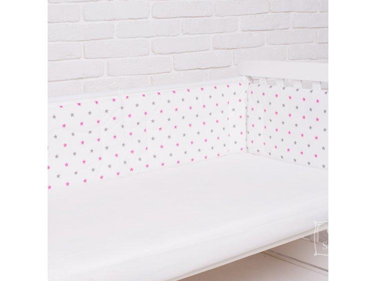 Бортики в детскую кроватку Elfdreams. Розовый звездопад