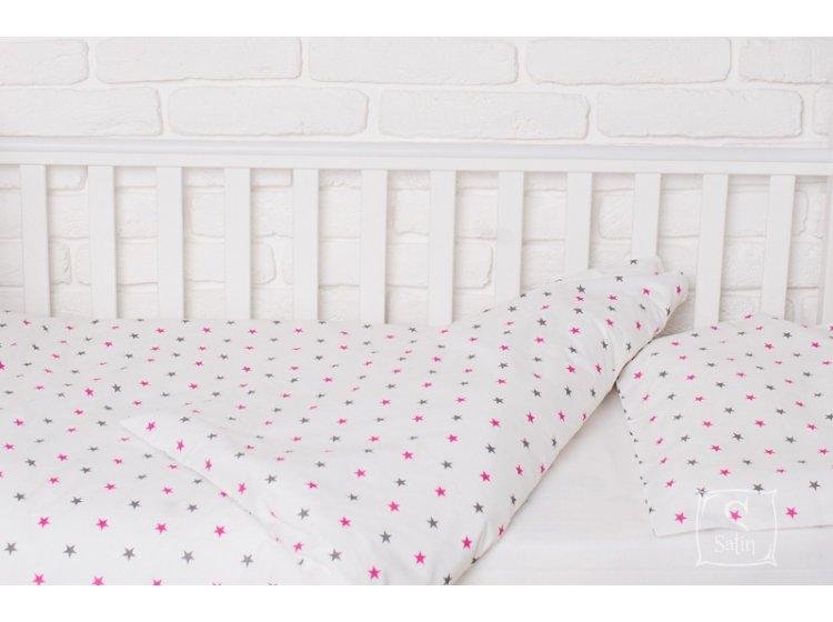 Постельное белье в детскую кроватку Elfdreams. Розовый звездопад