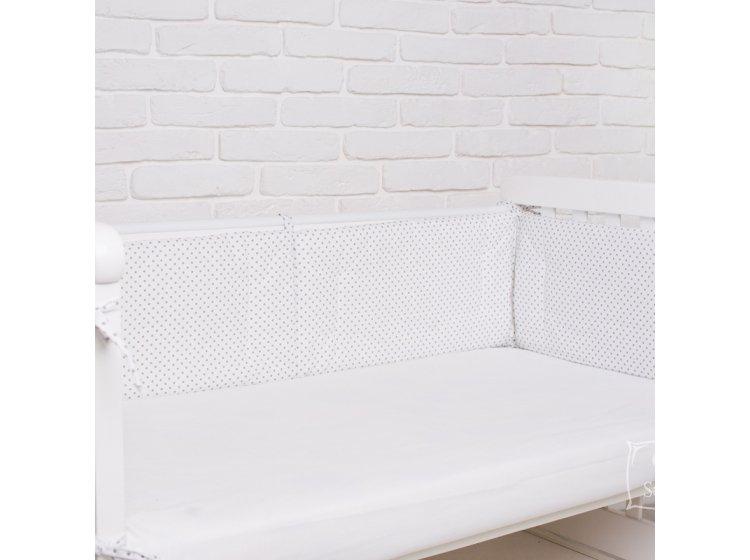 Постельное белье в детскую кроватку Elfdreams. Серые горошки