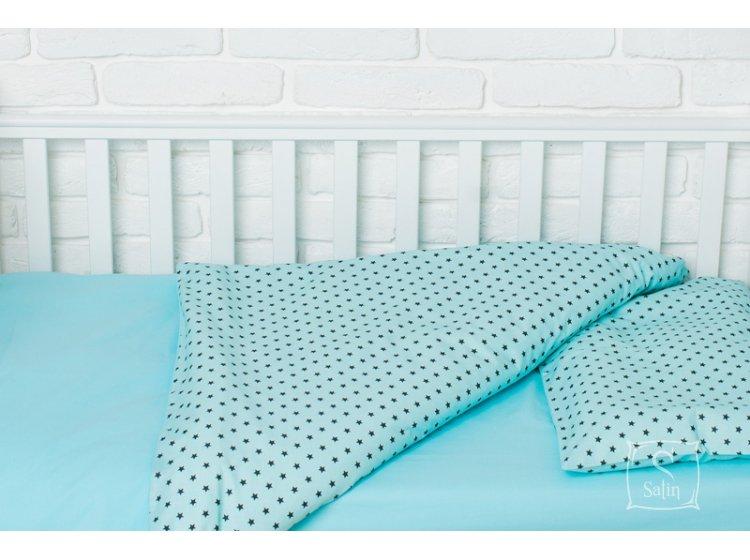 Постельное белье в детскую кроватку Elfdreams. Звёздная бирюза