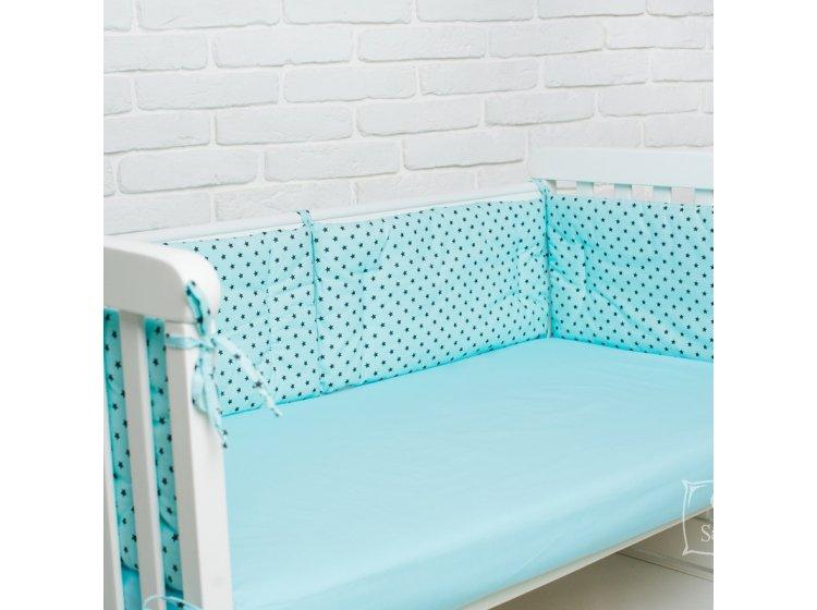 Бортики в детскую кроватку Elfdreams. Звёздная бирюза