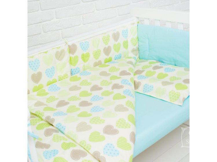 Постельное белье в детскую кроватку Elfdreams. Бирюзовые сердечки