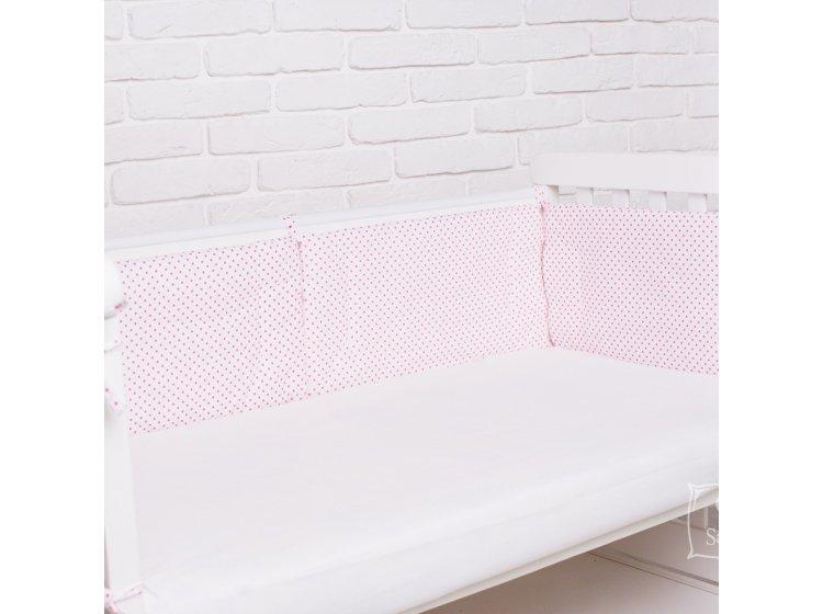 Бортики в детскую кроватку Elfdreams. Горошек розовый