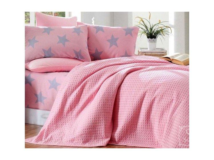 Постельное белье с вафельным покрывалом Eponj Home. BigStar pembe