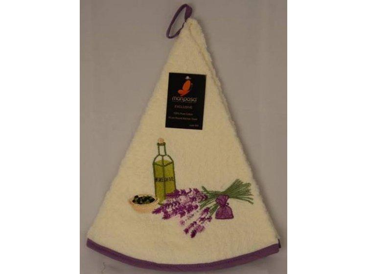 Махровое полотенце Mariposa. Букет кремовый 004, круглое