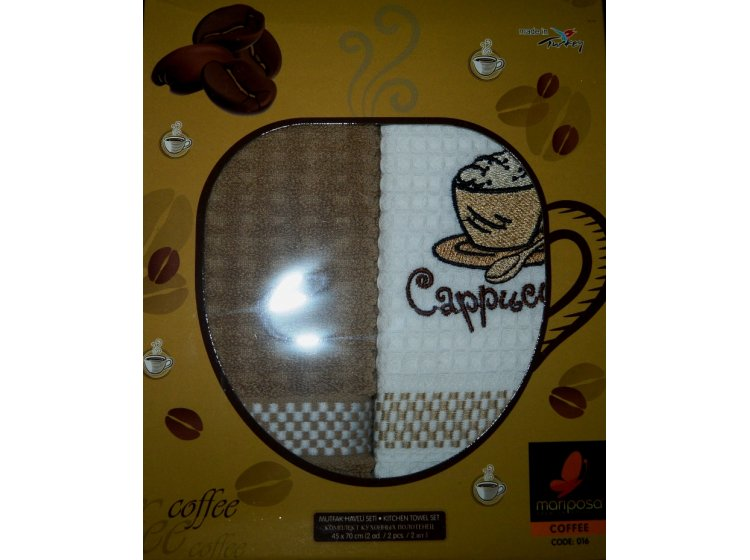 Набор из 2-х полотенец махра/вафля Mariposa. Кофе 016, 45х70см