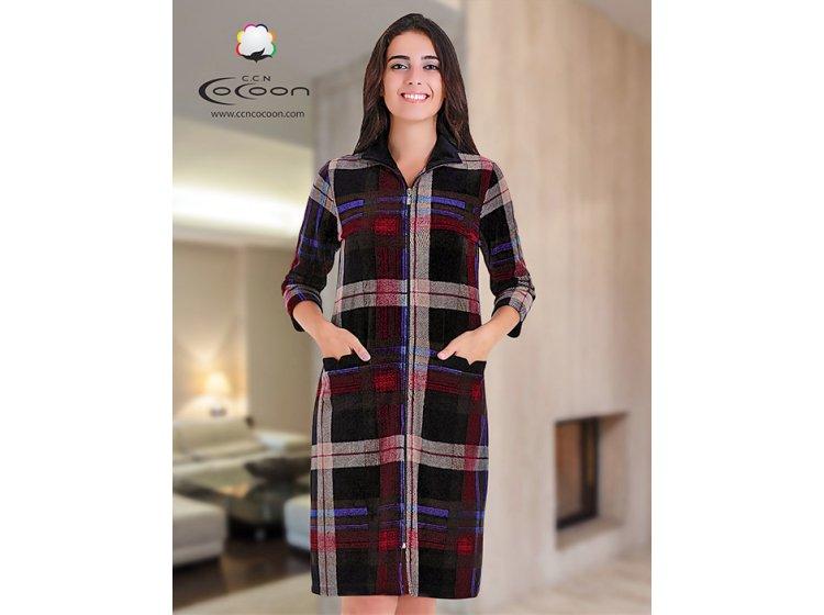 Велюровый халат Cocoon. ccn 12-1150 коралловый