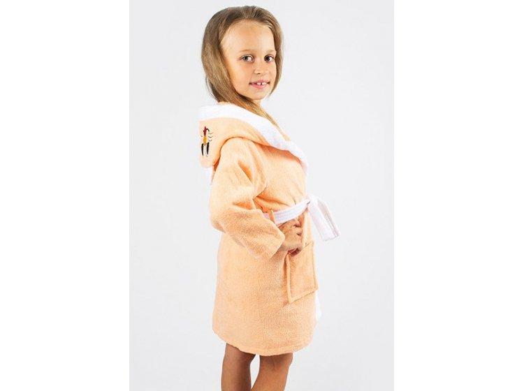Халат детский махровый Lotus. Зайка персикового цвета
