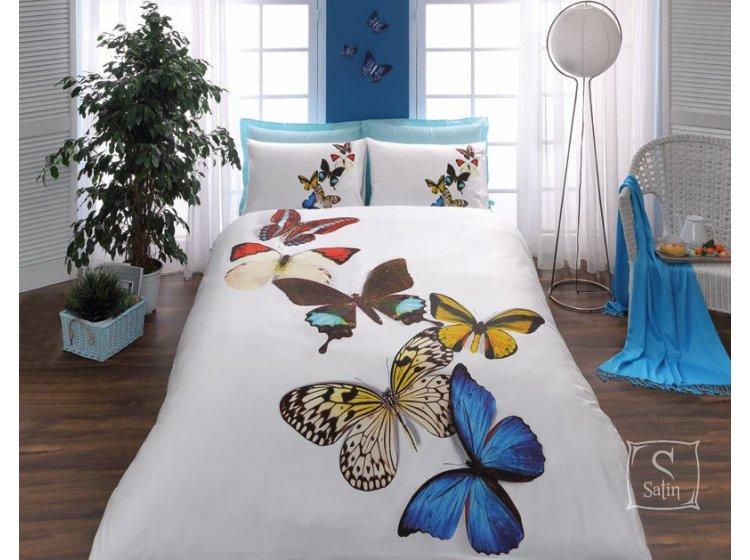 Постельное белье TAC. Butterflies mavi 3D