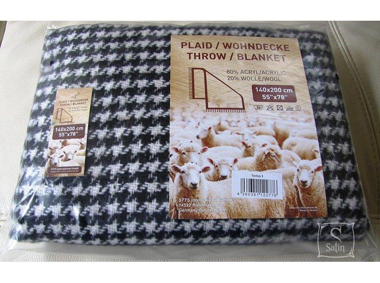 Плед TORINO, 20% шерсть, размер 140х200 см, черного цвета упаковка