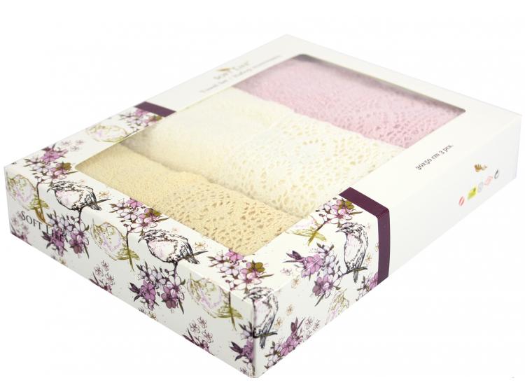 Набор салфеток для кухни Izzihome. S.L. LACE 30х50 см, 3 предмета  кремовый, темно-розовый, бежевый упаковка