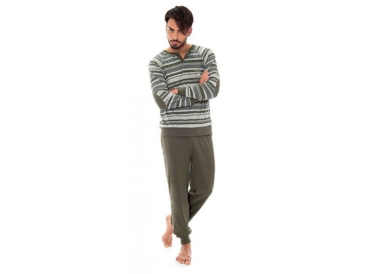 Пижама с брюками мужская Jokami. Frankie серо-зеленая