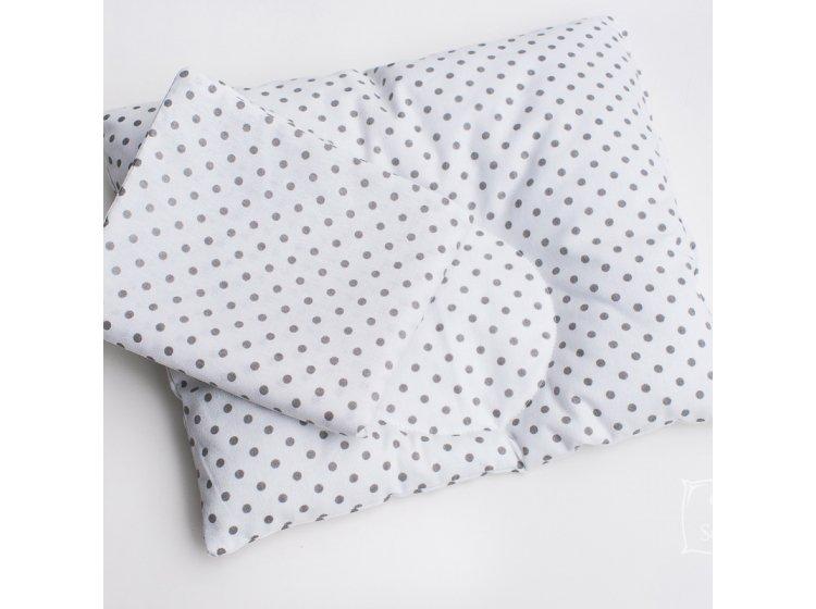 Подушка ортопедическая для младенцев Elfdreams. Серый горошек с наволочкой