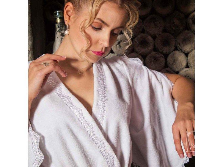 1869186956df ... Махровый женский халат Guddini. Rosa белый? рост модели 175-180 см ...