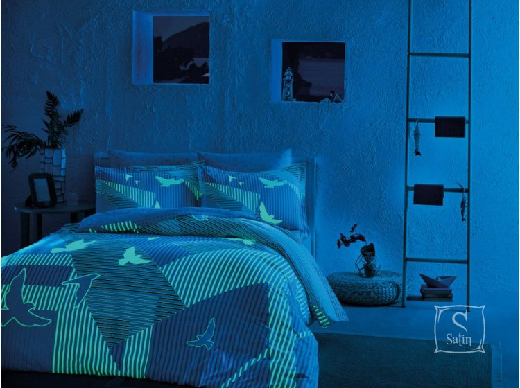 Светящееся постельное белье TAC. Glow Izzie V01 MAVI (ночь)