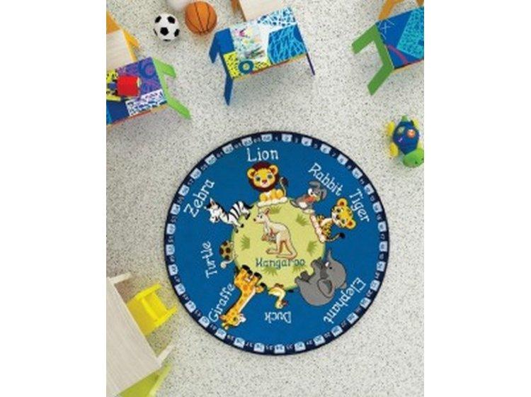 Детский коврик Confetti. Animal Planet mavi, диаметр 133 см