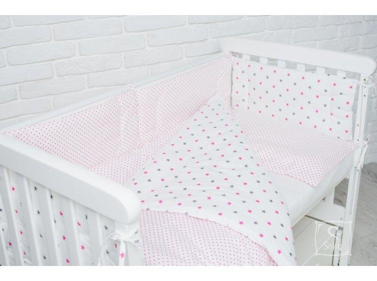 Комплект в детскую кроватку Elfdreams. Розовый звездопад