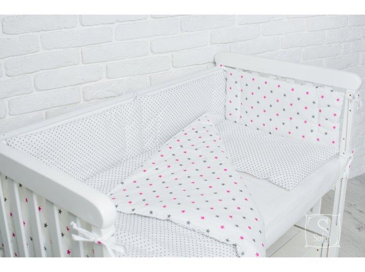 Комплект в детскую кроватку Elfdreams. Серый звездопад
