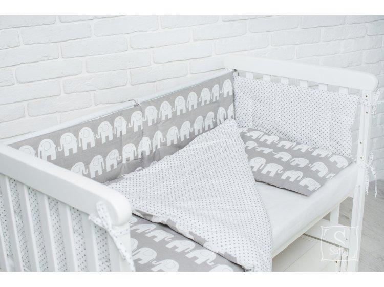 Комплект в детскую кроватку Elfdreams. Слоники