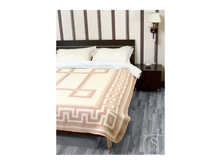 Одеяло Vladi бело-бежевое, новозеландская шерсть, жаккардовое