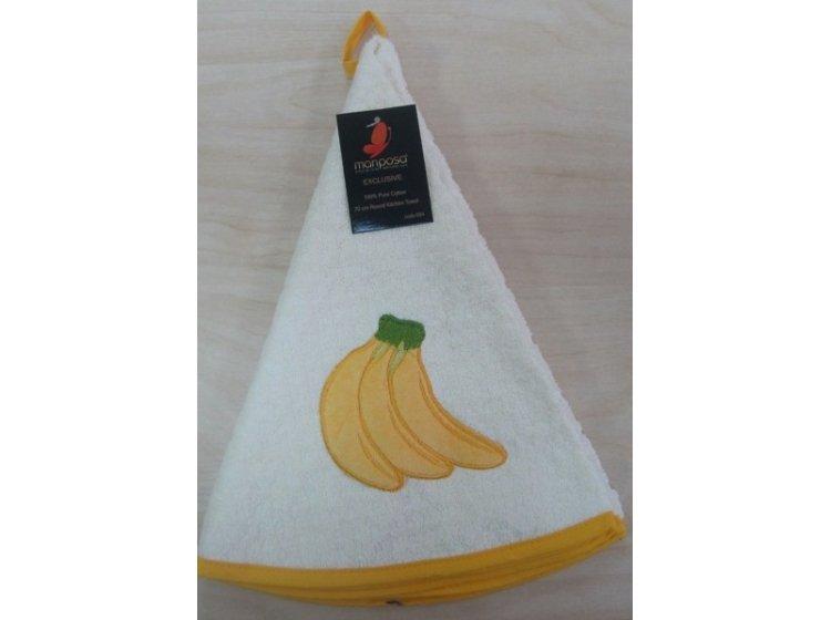 Махровое полотенце Mariposa. Бананы 004, круглое