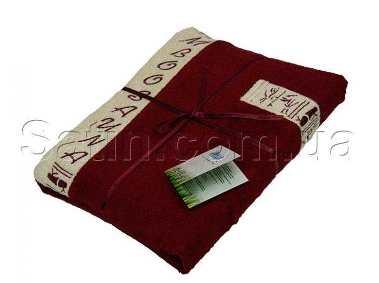 Набор для сауны бамбуковый мужской Petek La Bella Bamboo, бордовый, 3 предмета