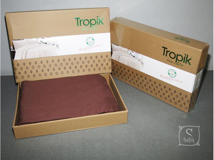 Покрывало Tropik. Cotton ВС06 Розы коричневый упаковка