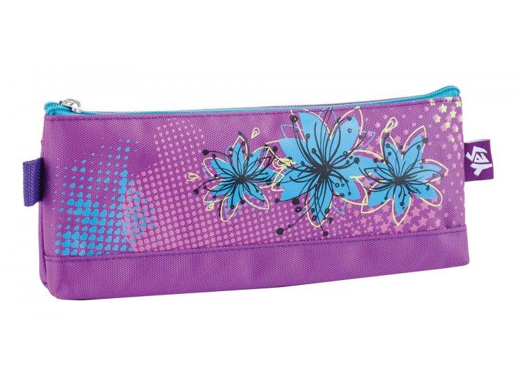 Пенал мягкий 1 Вересня YES. Blue flowers, косметичка, 20,5*8,5*2,5