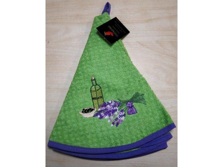 Махровое полотенце Mariposa. Букет зеленый 004, круглое
