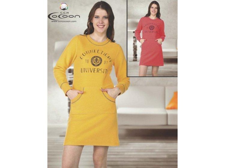 Туника Cocoon. Модель 11-7501 желтого цвета