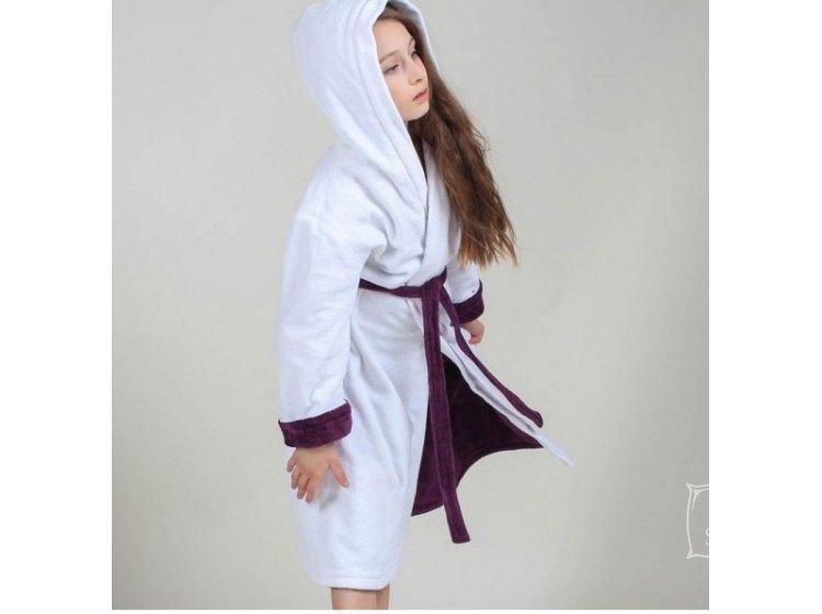 def038ae5972 Махровый детский халат для девочки с капюшоном Guddini. Alice (2) белый с  лавандой ...