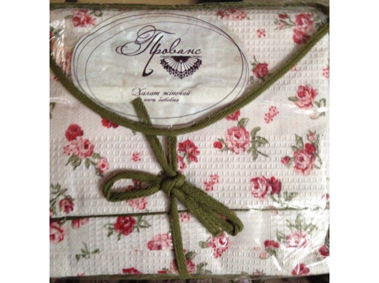 Халат женский вафельный Прованс розового цвета