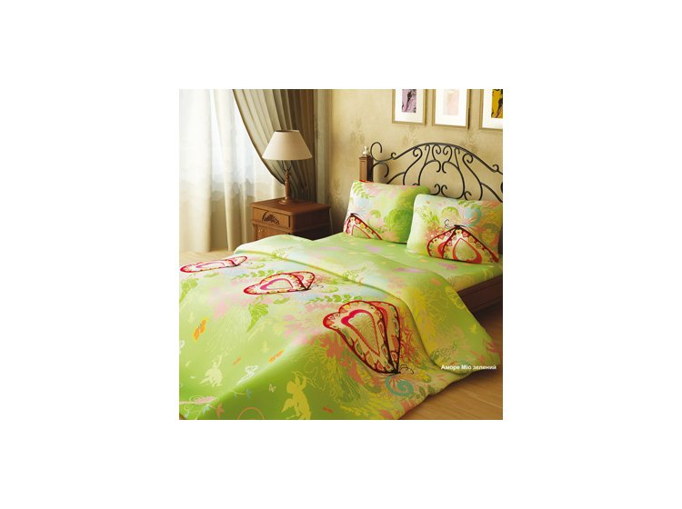"""Комплект постельного белья Home Line. """"Аморе Мио"""" зеленого цвета, бязь-премиум"""