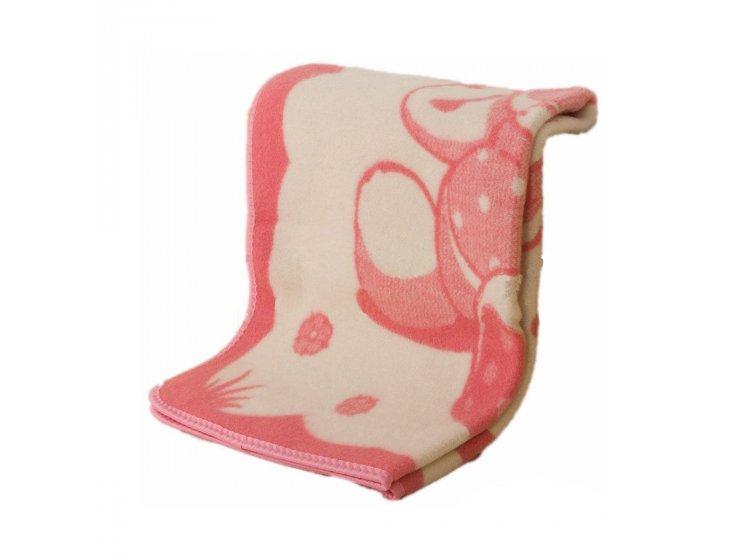 Детское жаккардовое одеяло Vladi. Мишка на лужайке розового цвета