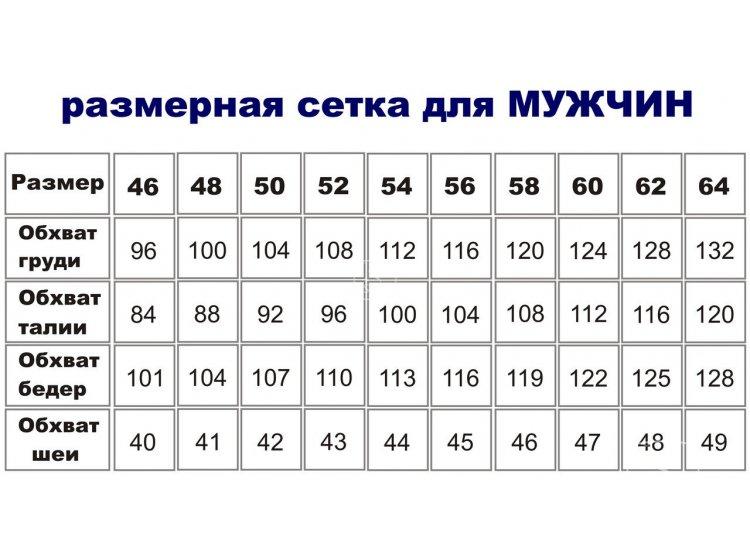 Таблица размеров для мужской одежды
