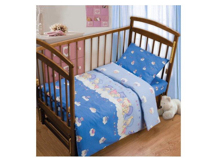 Постельное белье в детскую кроватку Непоседа. Мишки на облаке