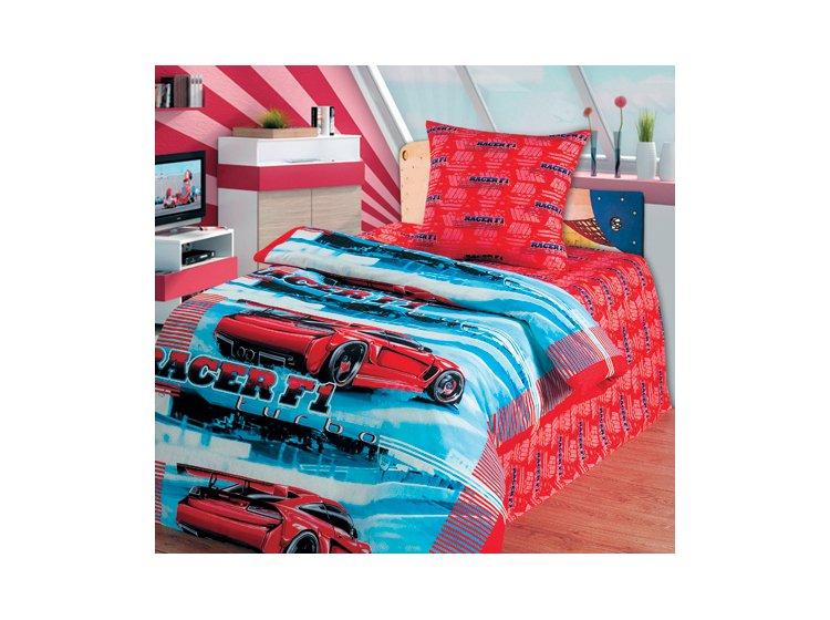 Непоседа, Автогонки, 1,5-спальный комплект белья, бязь