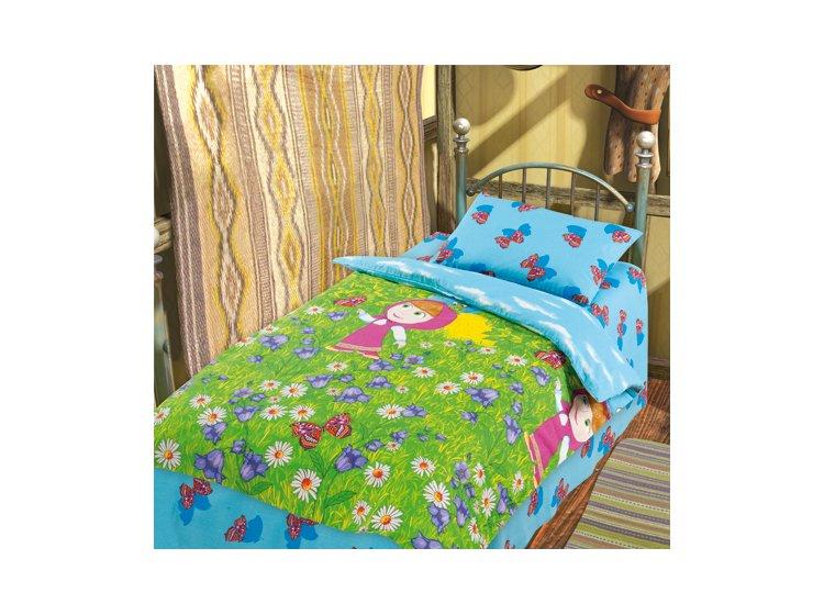 Постельное белье в детскую кроватку Непоседа. Маша на лугу