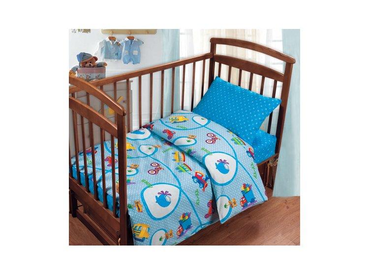 Постельное белье в детскую кроватку Непоседа. Дорожное движение