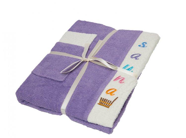 Набор для сауны женский Gursan, фиолетовый, 3 предмета
