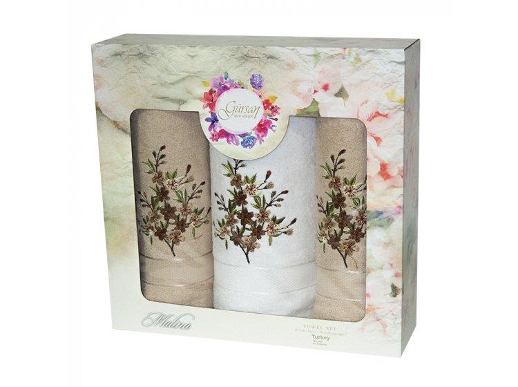 Набор из 3-х махровых полотенец Gursan. Cotton Malina Beige