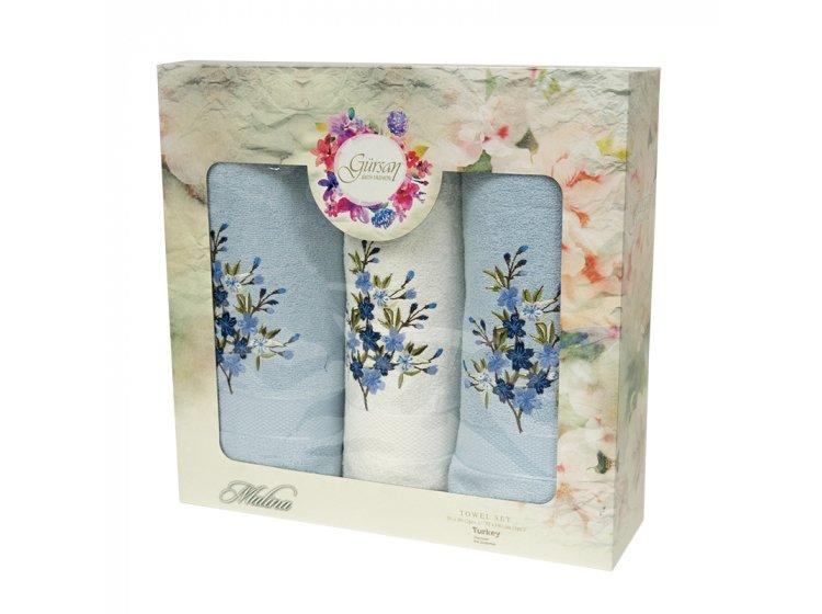 Набор из 3-х махровых полотенец Gursan. Cotton Malina Blue