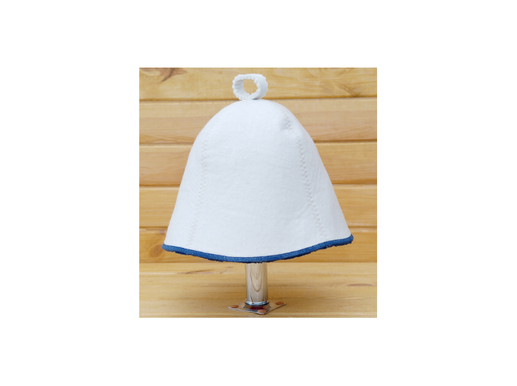 Шапка для сауны Комфорт бело-синяя